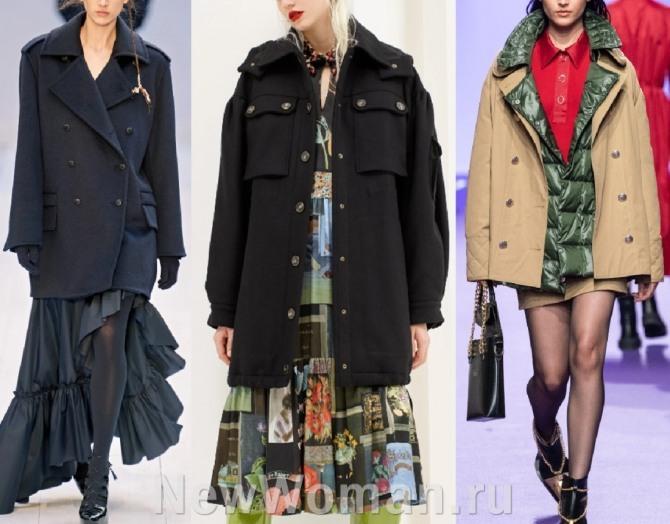 модный тренд 2021 года в женской демисезонной одежде - куртка-бушлат - луки с модных показов в столицах мировой моды