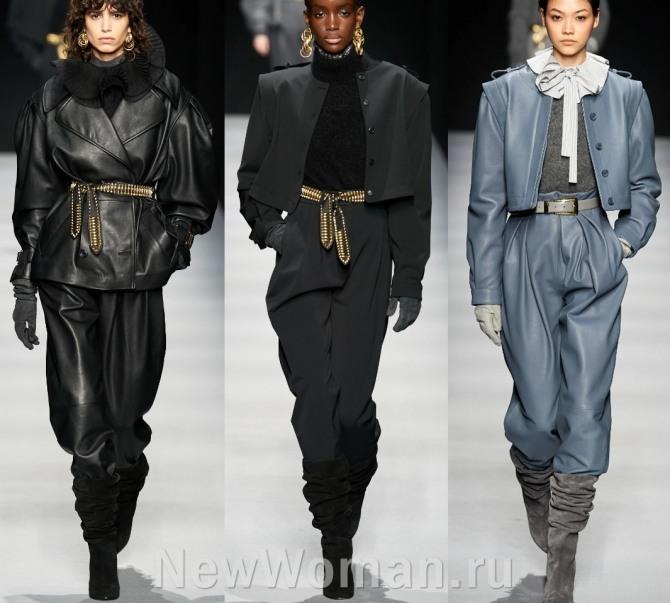 уличная повседневная стильная женская мода 2021 года от Alberta Ferretti - брючные кожаные и шерстяные костюмы с недели моды в Милане
