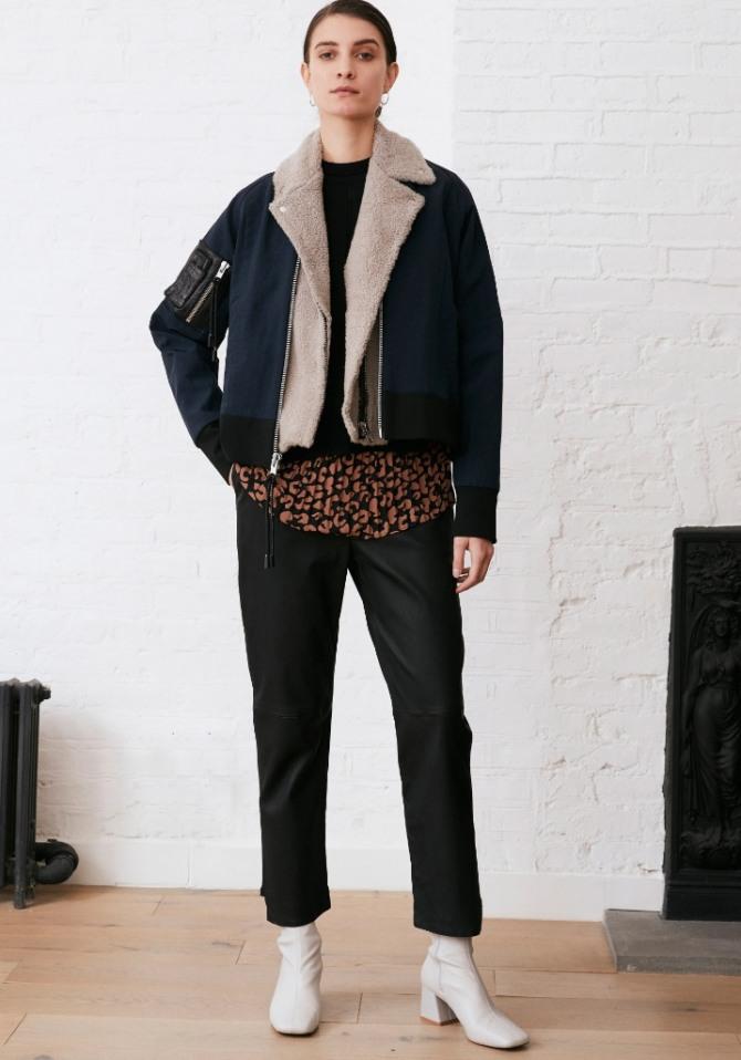 с чем носить и сочетать черную куртку 2021 года из замши - фото из коллекции дизайнерского дома Yigal Azrouël