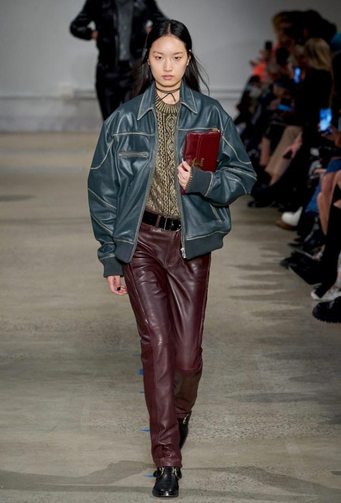 кожаный женский бомбер зеленого цвета от бренда Zadig & Voltaire осень-зима 2020-2021