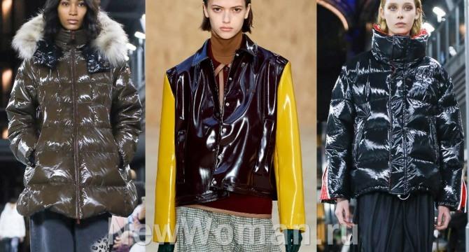брендовые женские куртки 2021 года от европейских дизайнерских домов с блестящим глянцевым покрытием