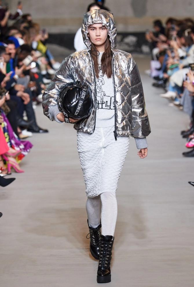 демисезонная одежда из металлизированных тканей, серебристые женские куртки 2021 года с модных показов, бренд Iceberg