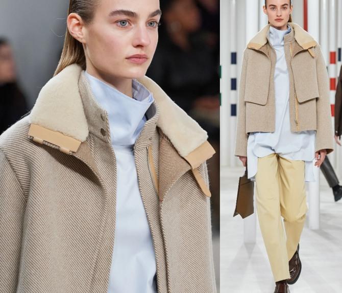 вельветовая женская двухслойная модель модной куртки с воротником из синтетического меха из коллекции Hermès на осень-зиму 2020-2021