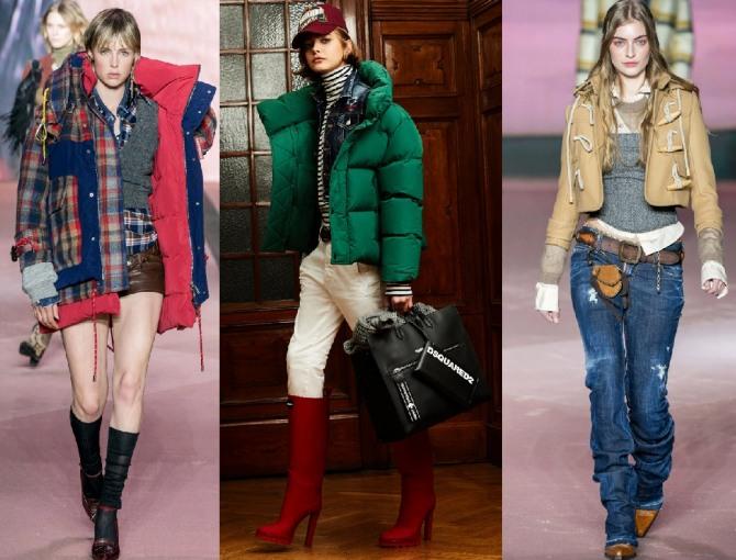 модные куртки для девушек 2021 года от модного итальянского дома Dsquared2: клетчатая ниже бедра, яркая зеленая, короткая куртка-дафлкот бежевого цвета
