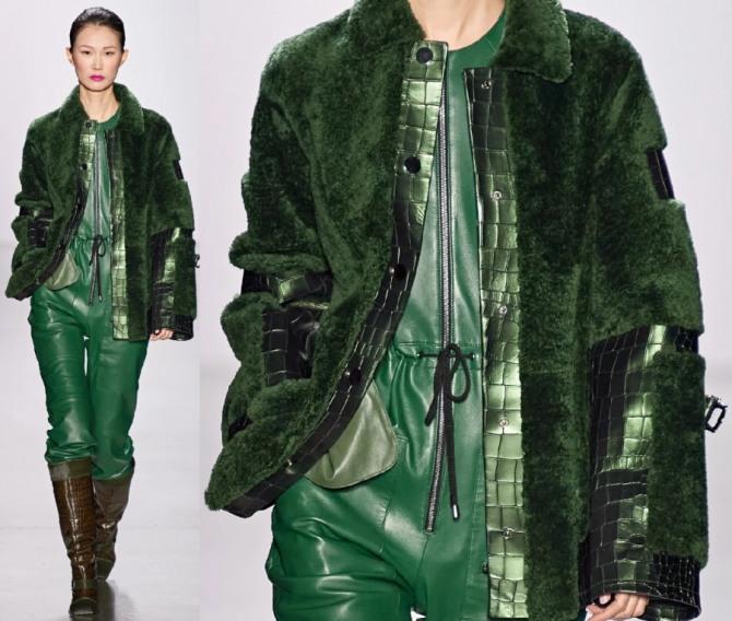 комбинированные женские куртки из ткани разных фактур - зеленая куртка из меха и кожи от Dennis Basso, тенденции на 2021 год