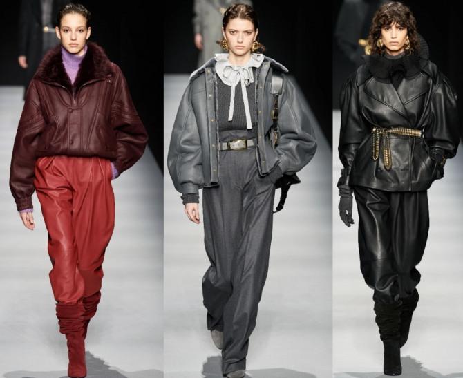 женские стильные зимние уличные образы с теплыми куртками из кожи - модный показ осень-зима 2020-2021 от Alberta Ferretti - фото