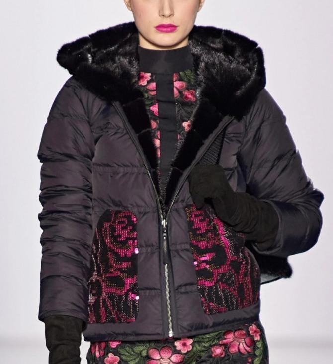 модная отделка зимних женских курток 2021 года - блестящие карманы из рельефной ткани