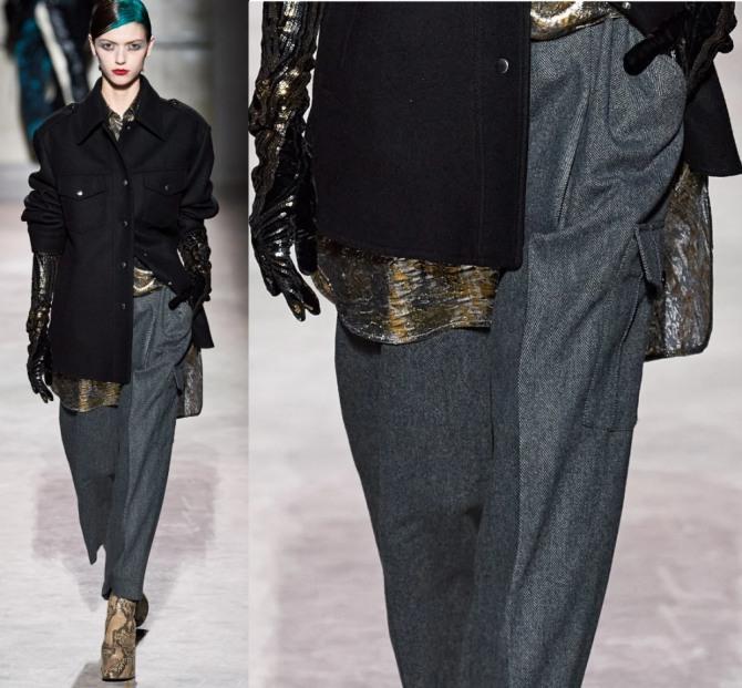 шерстяные серые женские брюки от бренда Dries Van Noten - женская мода 2021 года