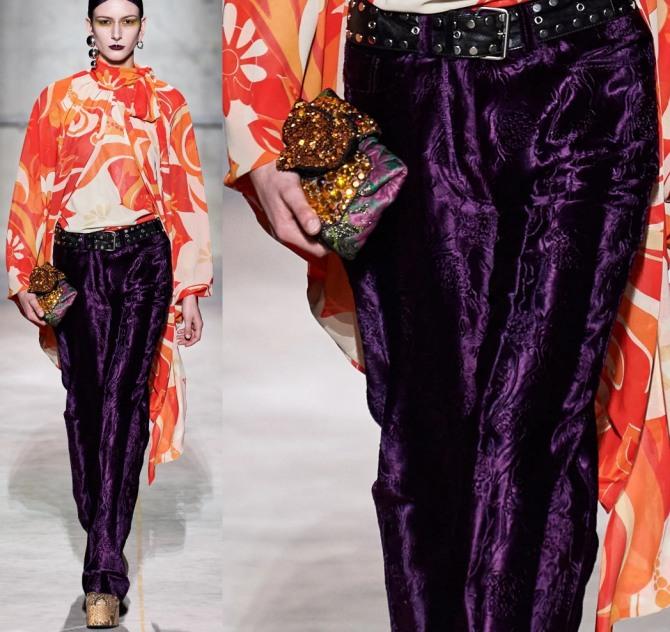 фото красивых велюровых женских нарядных брюк с модных показов 2021 года - высокая мода от дизайнерского дома Dries Van Noten