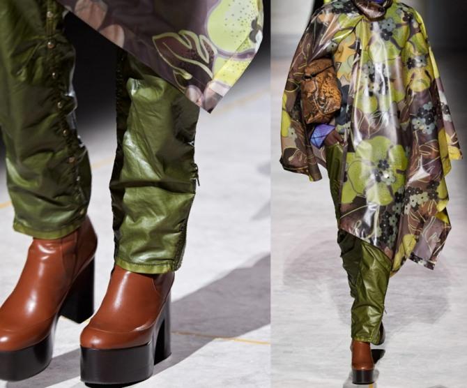 нейлоновые брюки с заклепками и боковой молнией-застежкой от бренда Dries Van Noten - женская демисезонная уличная мода 2021 года