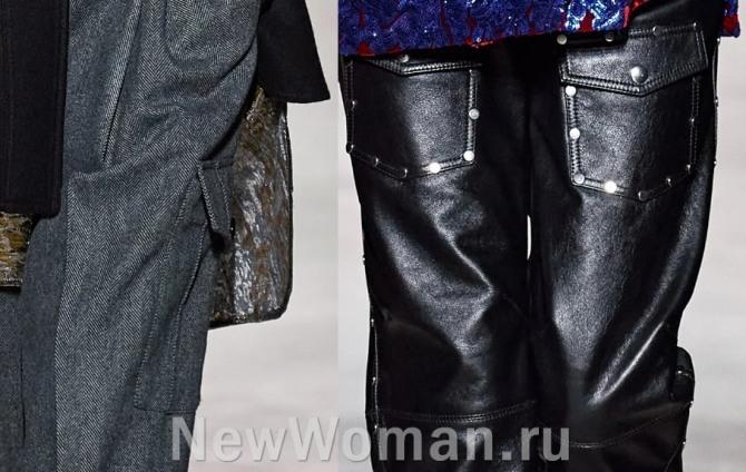 модные женские брюки 2021 года с карманами спереди и сбоку