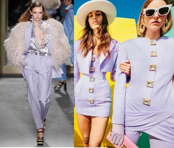 Пыльно-сиреневые женские костюмы 2021 года из весенне-летних коллекций мировых дизайнеров