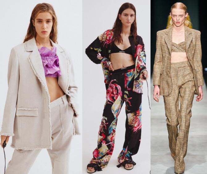 с чем носить модный брючный костюм 2021 года девушкам - с топом из той же ткани или с топом из легкой цветной материи