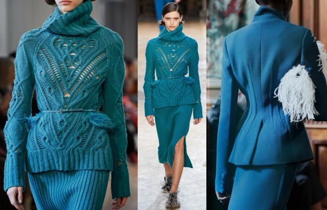 женские костюмы цианового цвета - новинки с модных показов на 2021 год