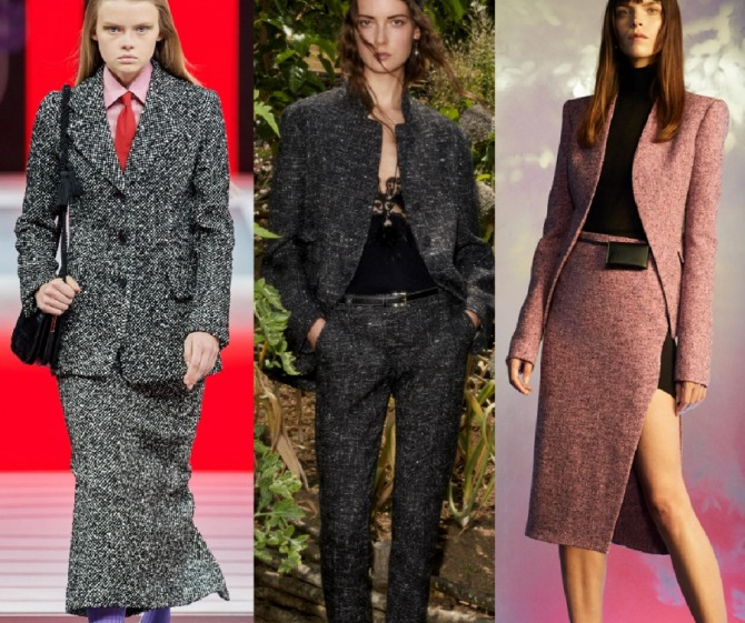 стильные твидовые дизайнерские костюмы для деловых женщин из меланжевой ткани - фото и тренды 2021 года