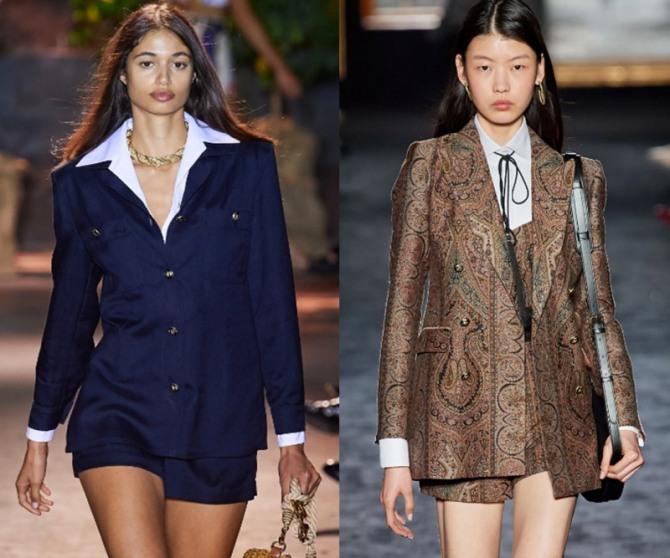 блузка, пиджак, шорты - стильные офисные образы для девушек на 2021 год