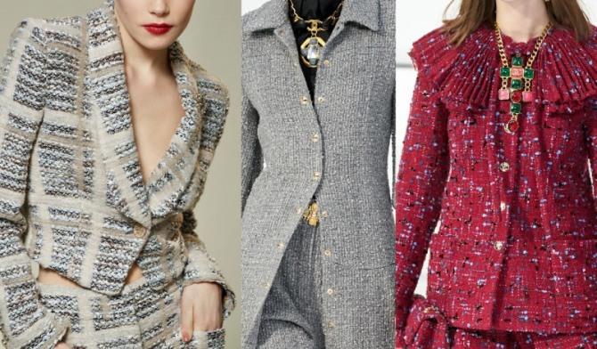 женские костюмы из буклированной твидовой ткани с подиума 2021 года