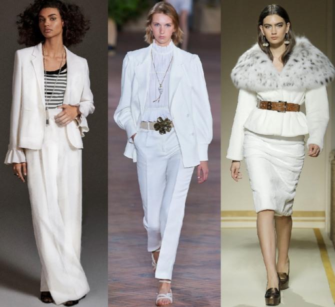 костюмы белого цвета с брюками и юбками - стильные луки с модных показов на 2021 год