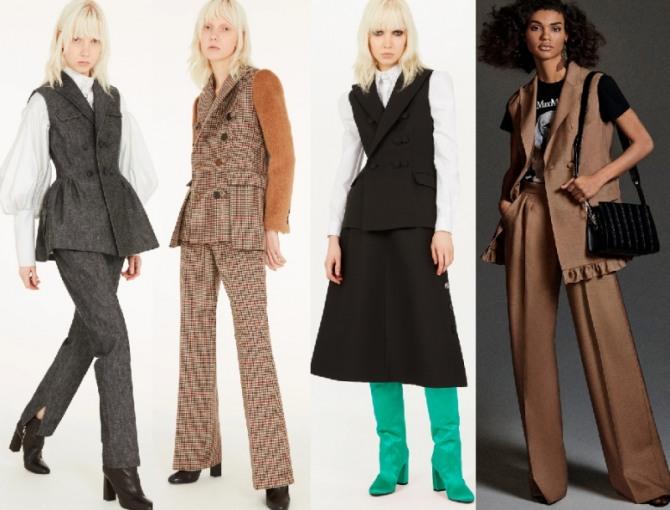 В 2021 году в моде деловые офисные женские костюмы с жакетом-безрукавкой - фото вариантов с юбкой и с брюками - европейская мода, коллекции модных домов