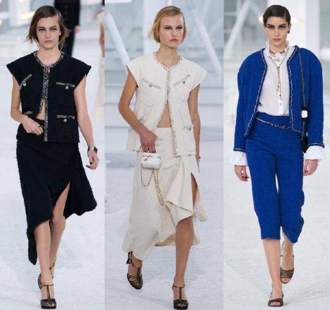 модный дом Шанель - женские твидовые нарядные и вечерние костюмы 2021 года