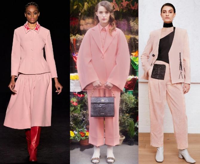 модные тенденции женских костюмов 2021 года - фото моделей пыльно-розового цвета