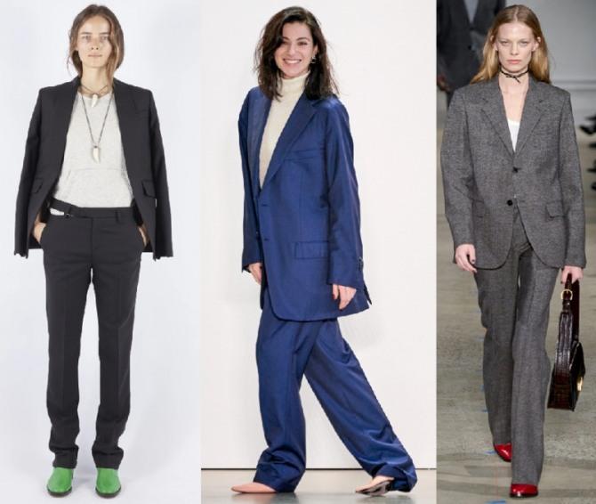 модный тренд женской моды 2021 года - мужской костюм
