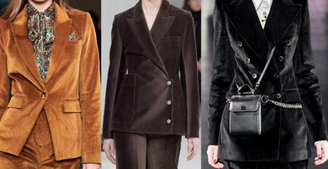 модные ткани женских брючных костюмов 2021 года - вельвет в коричневой, рыжей и черной цветовой гамме