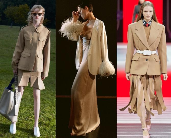 брендовые костюмы 2021 года бежевого цвета - модели с юбкой мини, миди, макси