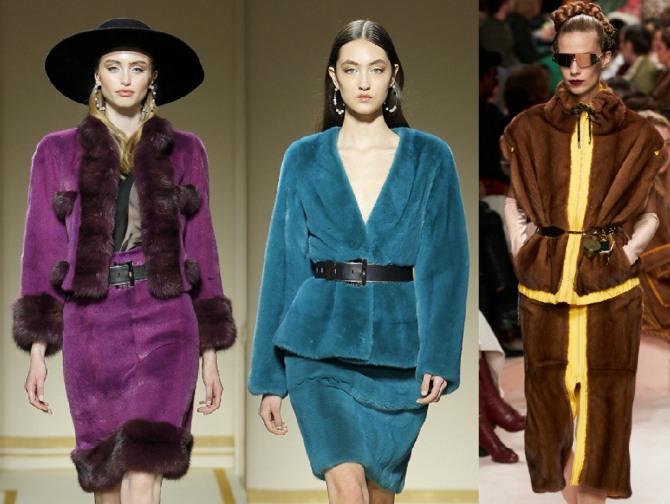 меховые костюмы с юбкой - женская мода 2021 года от стилистов модных домов