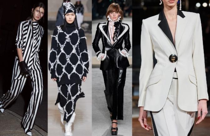 костюмы 2021 года для женщин в черно-белой цветовой гамме - фото новинок с подиума