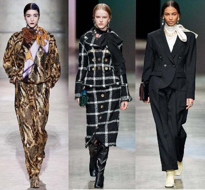 альтернатива вечернему платью - нарядный брючный костюм, фото с подиумов 2021 года