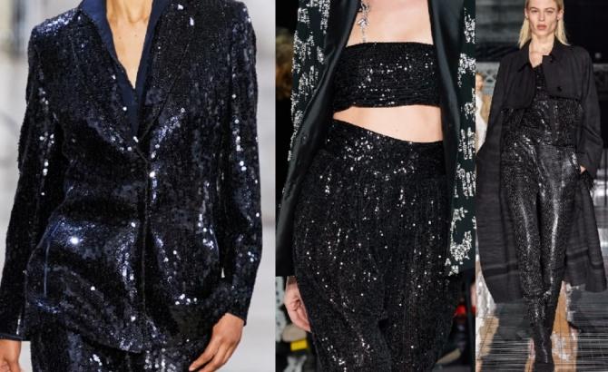 модные луки с мировых подиумов на 2021 год - черные блестящие костюмы из пайеточной ткани