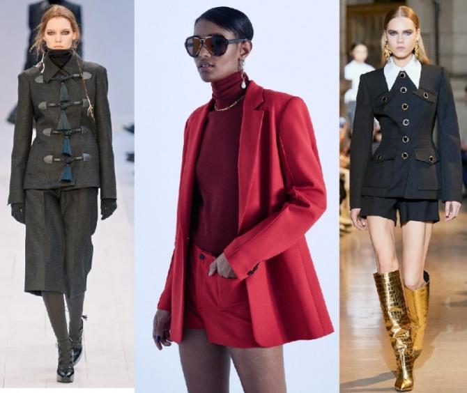 самые модные костюмы 2021 года для деловых женщин - пиджак, водолазка, блузка, шорты разной длины - тренды 2021 года от модных европейских домов