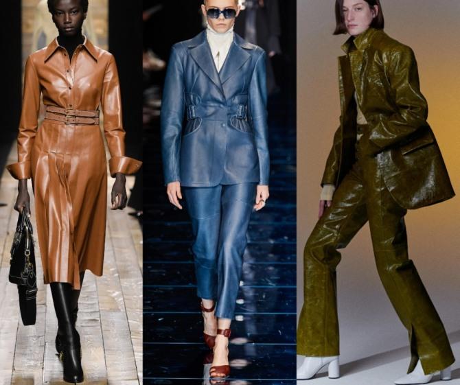 силуэты кожаных стильных женских деловых костюмов с юбкой и брюками - фото с модных показов 2021 года