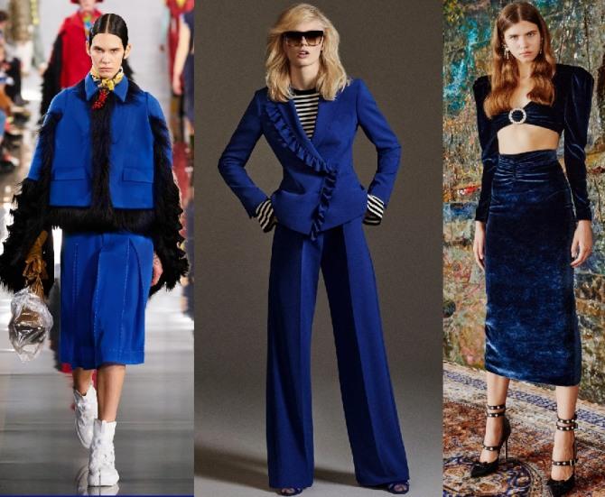 модные женские брендовый костюмы синего цвета - подиум 2021 года