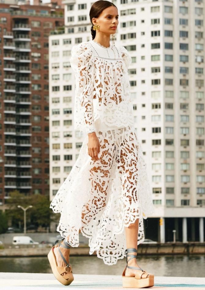 белый ажурный костюм с юбкой