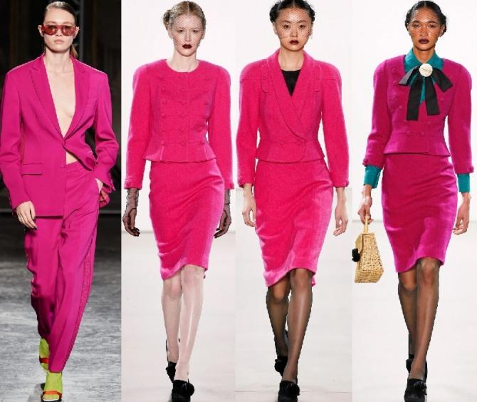 тренды 2021 года - женские костюмы малинового цвета - с брюками и юбкой - фото с недель моды в европейских модных столицах