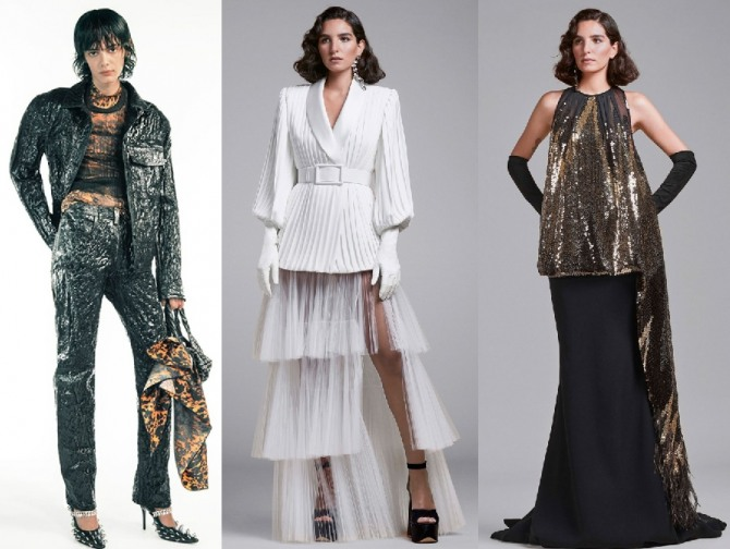 тренды весна-лето 2021 для вечерних женских костюмов - фото с подиумов европейских столиц