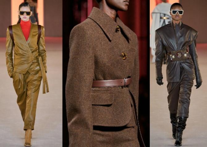 фото женских костюмов 2021 года коричневого цвета, высокая мода, подиум