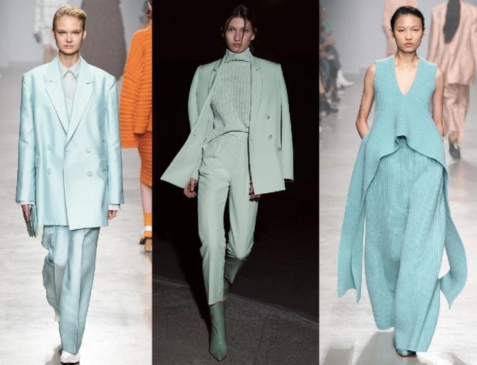 костюмы 2021 года для женщин мятного цвета