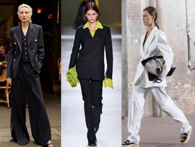 фото стильных и модных офисных брючных костюмы 2021 года