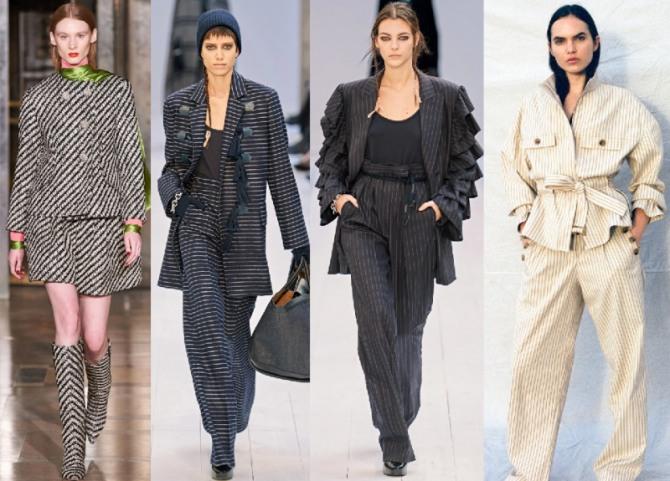 брендовые женские костюмы с полосатым принтом - фото 2021 года