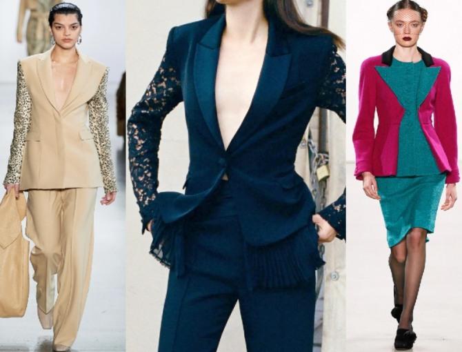 Женские дизайнерские костюмы из комбинированных материалов разного цвета и фактуры - модные фасоны 2021 года