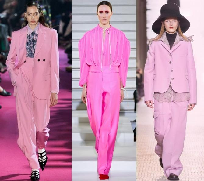брючные брендовые женские костюмы розового цвета - тенденции в женской моде 2021 года