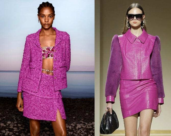 женские костюмы с юбкой 2021 года цвета фуксии