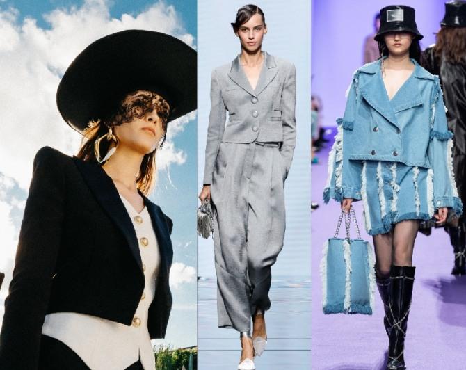 модная тенденция в сигменте женских брючных костюмов 2021 года - укороченный жакет