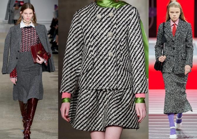 какие кастюмы в тренде в 2021 году - идеи от стилистов модных домов для офиса - юбка плюс пиджак или жакет