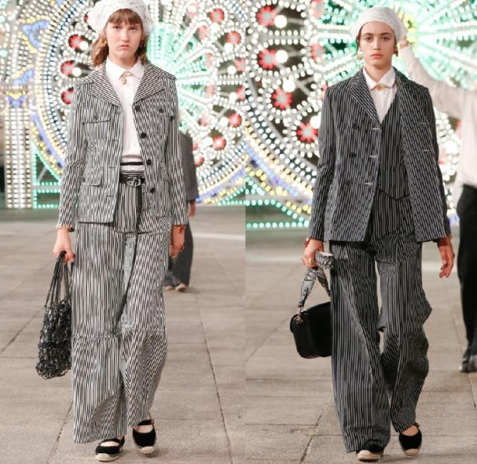 какие брючные костюмы в полоску с широкими штанами были показаны на неделях моды 2021 года