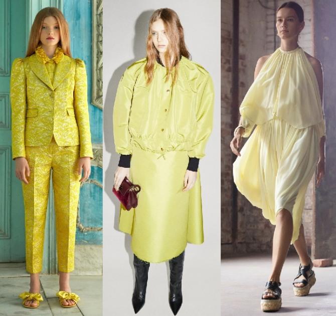 фото костюмов желто-лимонного цвета из коллекций мировых стилистов на 2021 год