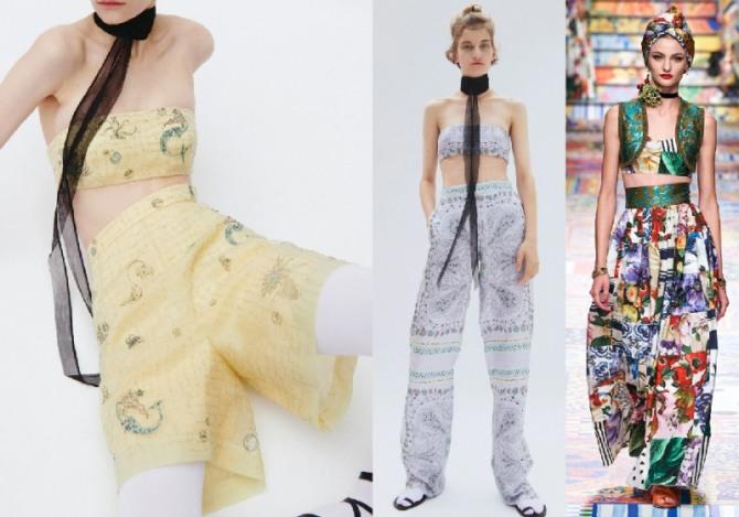 лето 2021 - стильные образы для девушек и женщин, костюмы-комплекты брюки с топом и топ с юбкой - фото из коллекций европейских дизайнеров модной женской одежды
